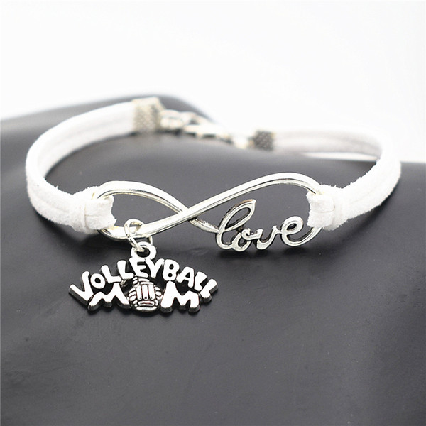 Silver Infinity Love Volleyball Mom Pendant White Leather Suede Charm Bracelets & Bangles for Women Men Girls Adjustable Friendship Jewelry