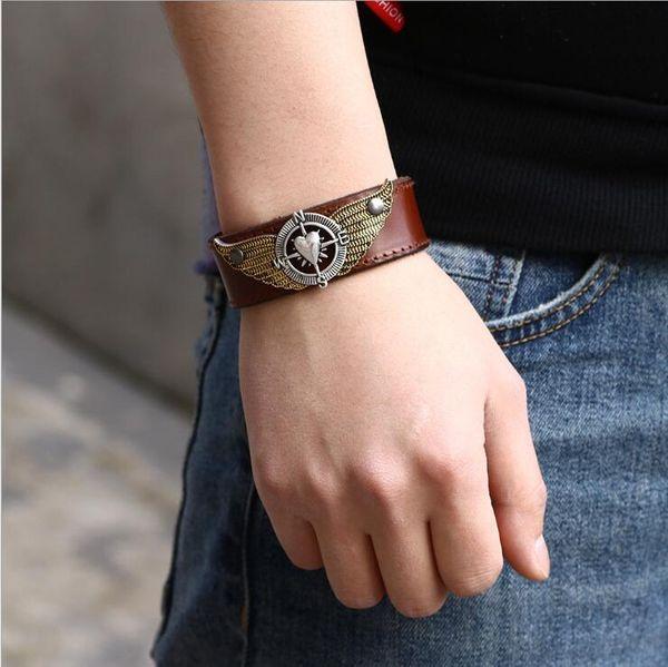 Herren Leder Armband Schmuck - verstellbare Manschette Punk Armband Wrap herzförmige Flügel Designer Armbänder Armreifen für Männer