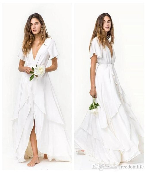 2018 New Designer Beach Bohemian Wedding Dresses Cheap Short Sleeves Deep V Neck Layered Train Silk Satin Chiffon Bridal Gowns