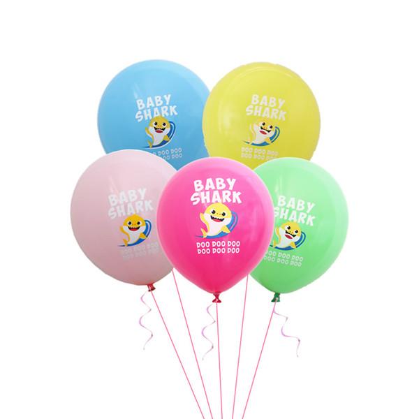 10 adet / grup Bebek Köpekbalığı Balonlar Parti Malzemeleri Süslemeleri 12