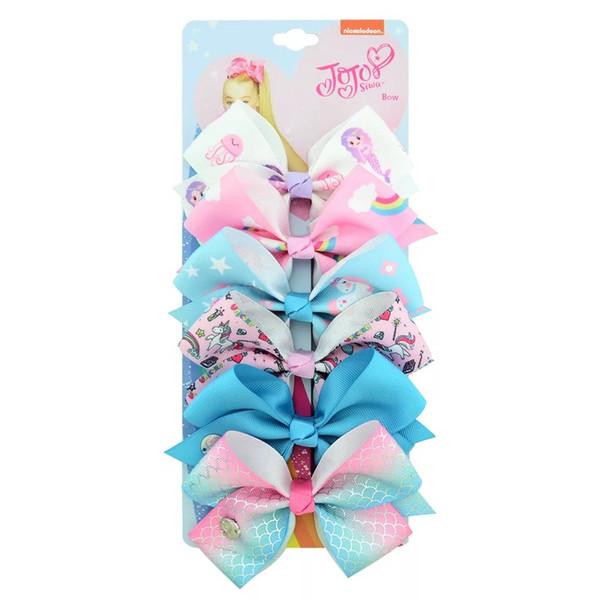 2019 INS Newest Jojo Siwa Nylon Bows Handmade Baby Barrettes Unicorn Bohemian Turban Butterfly Barrettes Floral Horse Headbands Bandanas