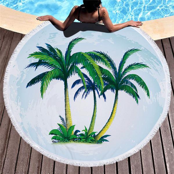 Подсолнечное круглое пляжное полотенце Цветочный фламинго с леопардовым покрытием для пляжа Летняя корова с принтом Пляжное одеяло Кисточкой Полосатые круговые полотенца 53