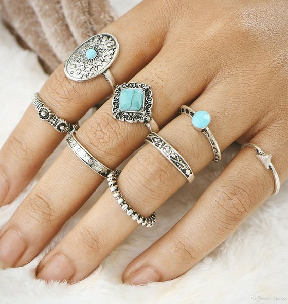 8pcs/set Retro Carved Turquoise Knuckle Ring Midi Finger Tip Rings Women Engagemen Rings Luxury Jewelry Mens Wedding Rings Bague