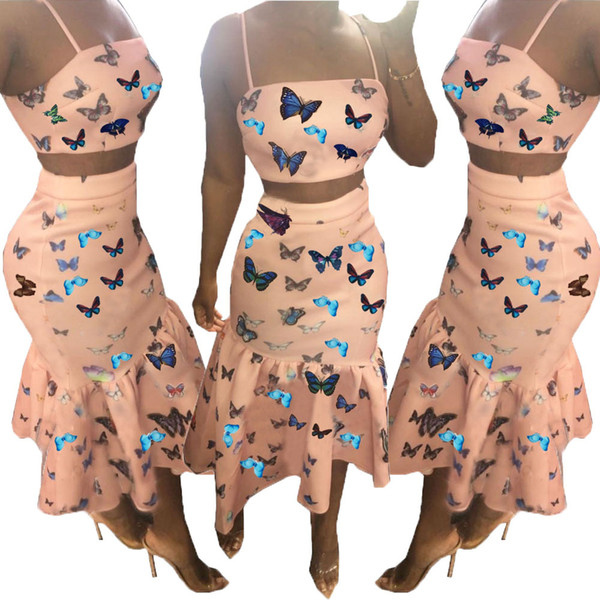 2019 Newest Design Pink Butterfly Printing Party Dresses Two Pieces Spaghetti neck Cropped Top and Ruffles Mermaid Skirt Club Dress Sets