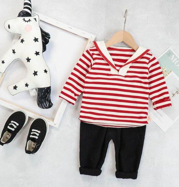 Otoño 2019 Nuevos niños y niñas Traje Niños Camisa azul marino Niñas Baby Stripe Traje de dos piezas de manga larga Nuevos modelos más vendidos TAMAÑO 80-110T
