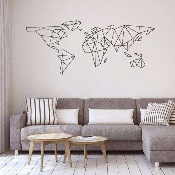 Geometric World Map Vinyl Wall Decals Classroom Science Art Sticker Home  Decor Bedroom Removable Wall Stickers Office Childrens Bedroom Wall  Stickers ...