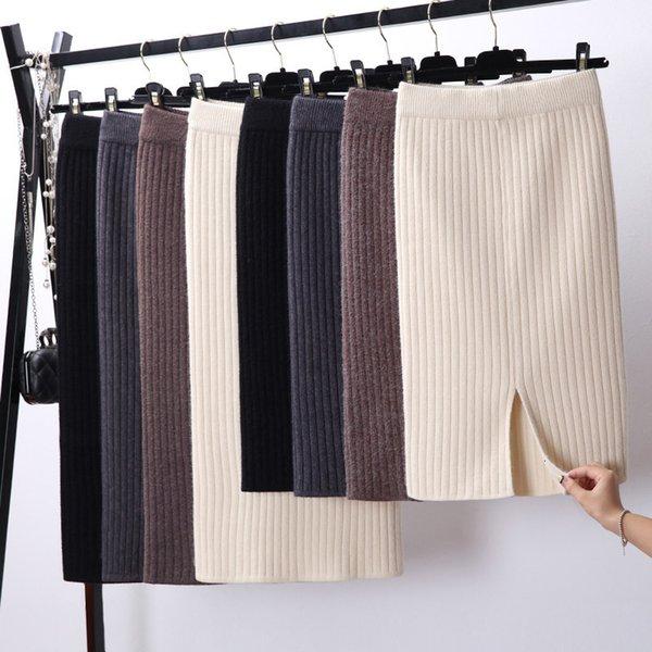 pencil skirt skirts for women back women slit bodycon elegant midi autumn winter casual knitted skirt high waist skirts jupe femme faldas