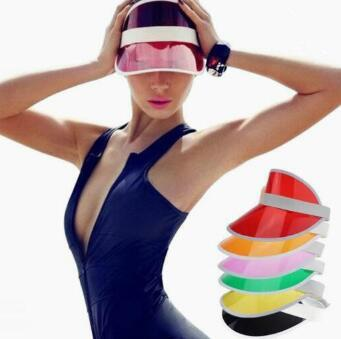 best selling 2019 Sun Visor Sunvisor party hat clear plastic cap transparent pvc sun hats sunscreen hat Tennis Beach elastic hats DHL Free