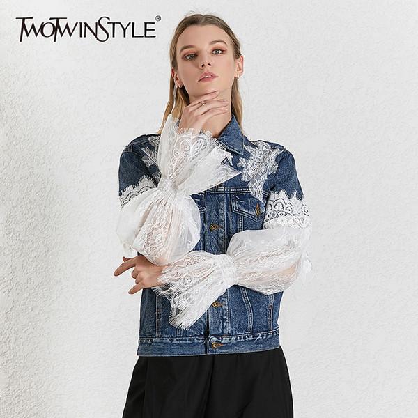 TWOTWINSTYLE Dentelle Patchwork Denim Veste Pour Femmes Revers Col Puff Puff Streetwear Manteau Casual Femme 2019 Mode Nouveau