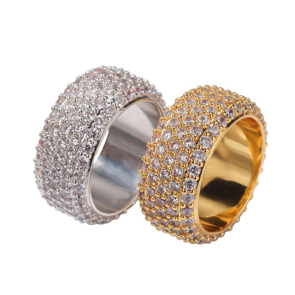 Hip Hop Bling Ice Out Cubic Zirconia CZ Ring for Men Women Gold Rings Lover Jewelry