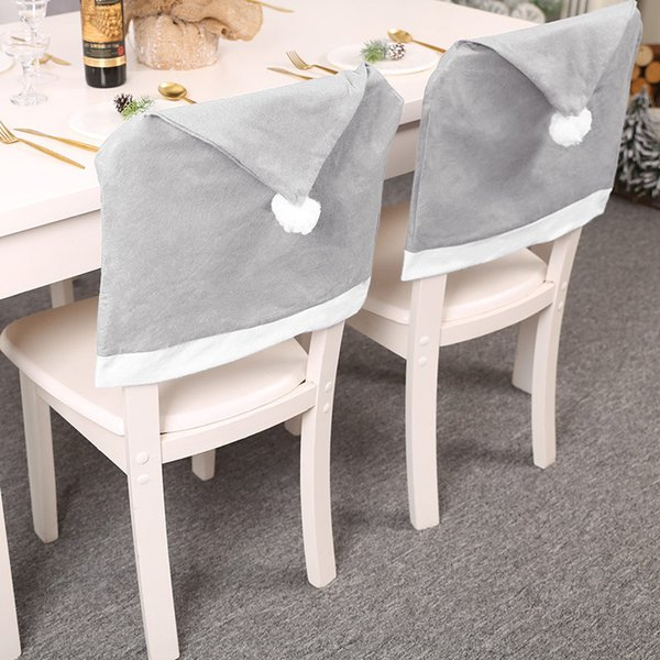 Grey Chair Back Covering for Christmas Decor Home Hotel Banquet Chair Protector Anti-dirty Household Chair Back Cover Case
