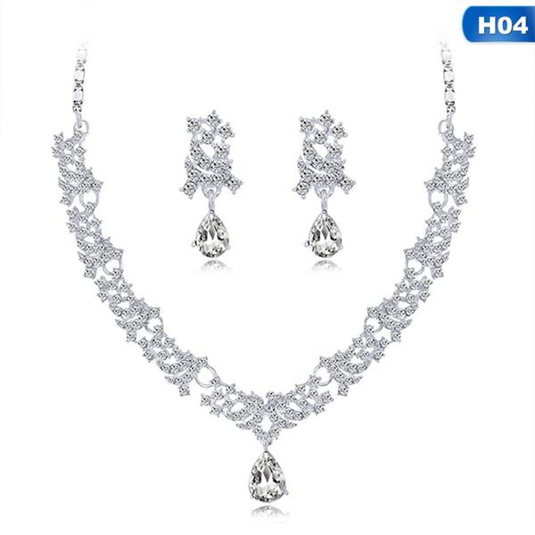 Mujeres gargantilla collares cristal Mujeres Aleación Rhinestone Cristal Collar Pendientes colgantes Conjunto Boda Novia Joyería