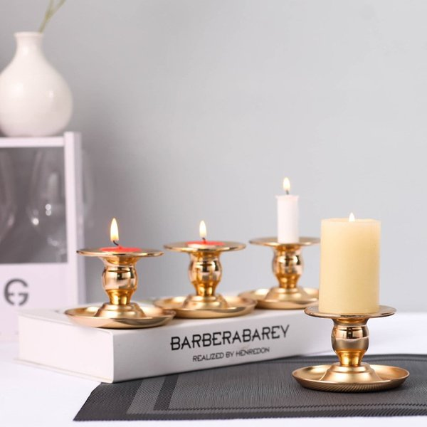 Vintage wedding Gold Candlesticks Iron Candle Base Holder Pillar Christmas Home Wedding Romantic Dinner Decoartion yq00281