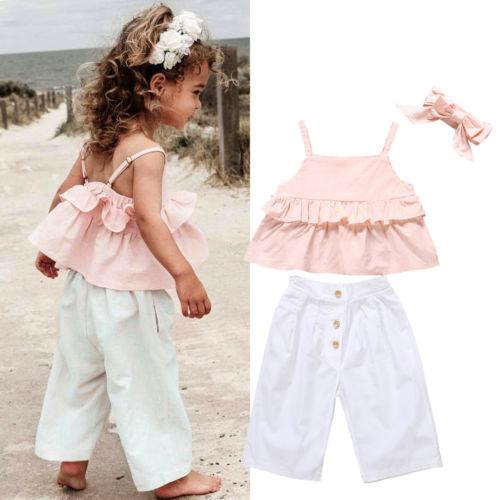 2020 Toddler Kids Baby Girls Clothes Ruffle Tops Princess Pants Headband Outfits