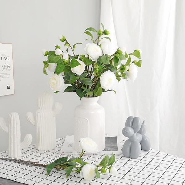 55cm 4 Flowers White Silk Rose Chinese Romantic Artificial Rose Flower DIY Velvet Silk Flower for Party Home Wedding Holiday Decoration