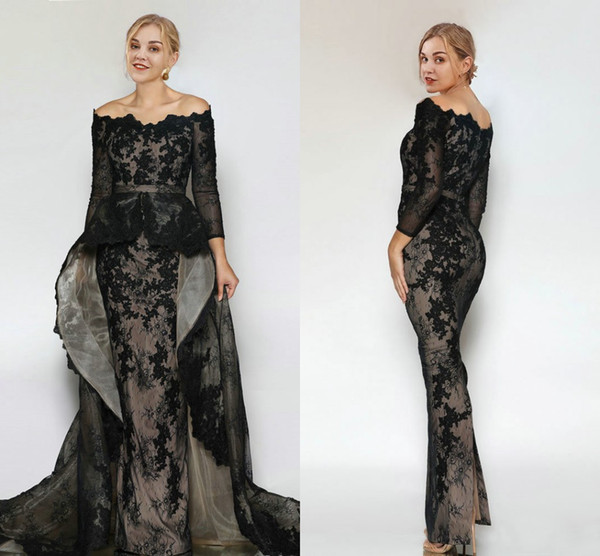 Sexy Black Lace Evening Party Dresses With Detachable Train Sccoop Neck Long Sleeves Backless Cheap Prom Formal Homecoming Dress New