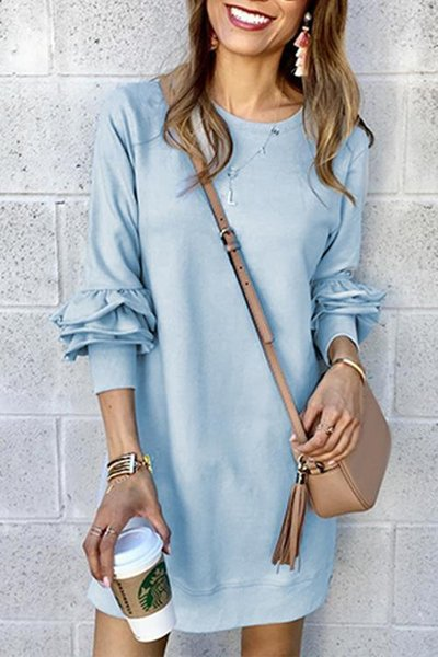2019 Daily Sweet Solid Color Multi-layer Short-sleeved Stitching V-neck Casual Mini Mid-waist Long-sleeved Dress (3 Colors)