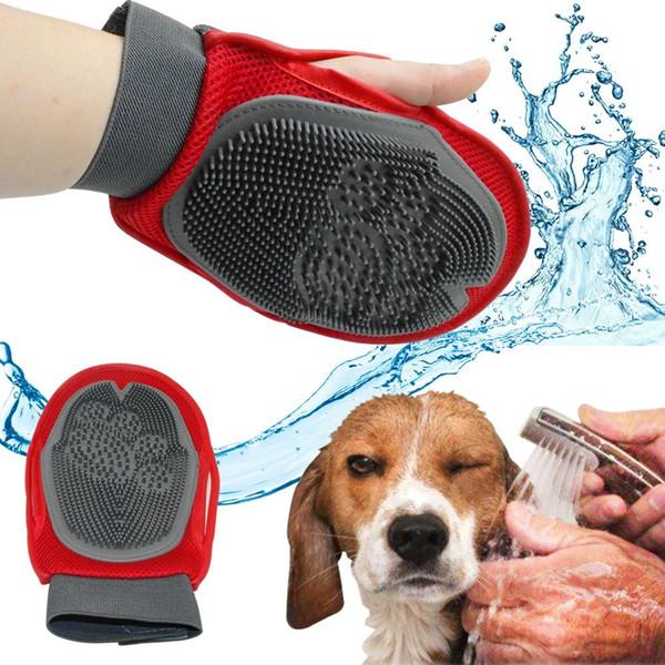 Pet Brush перчатки Cat щетка для волос Уход меха резиновые удаления варежки собака щенок стиральная Cheaning ванна щетка расческа собака массаж душ DHL