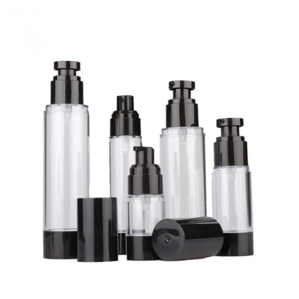 15 ml 30 ml 50 ml 80 ml 100 ml 120 ml Vazio Preto Airless Bomba Dispenser Garrafa Recarregável Loção Creme Vacuum Spray Atomizador F2469