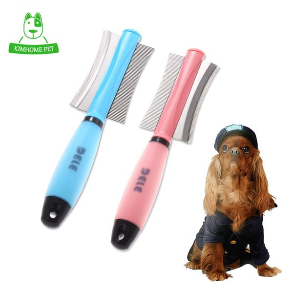 Dog Cat Removal Hairs Comb Brush Fur Shedding Trimming Blue Pink Dual Purpose Pet Grooming Tool Wholesale Q190523