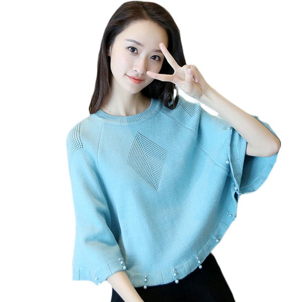 Womens Cloak Bead Sweaters Knit Batwing Top Poncho 2017 Autumn Female Three Quater Sleeve Cape Coat Loose Sweater Outwear XH1074