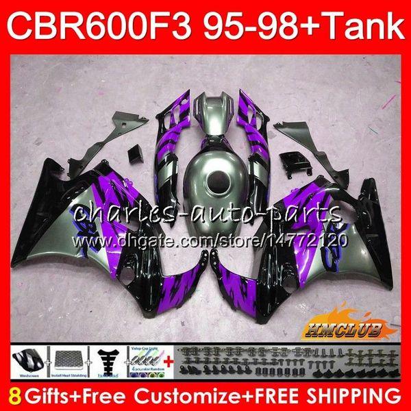 +Tank For HONDA CBR 600F3 CBR600FS 600CC 97 98 1997 1998 Fairing 41NO.263 CBR600 F3 CBR 600 FS F3 CBR600F3 95 96 1995 purple grey 1996 Kit