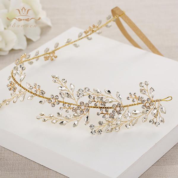 Свадебные ручной работы золотые ленты для волос невесты корейский мягкий горный хрусталь тиара головные уборы кристалл волос ювелирные изделия T190628