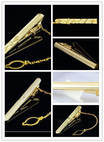 Wholesale-Mens Metal Golden Tone Simple Necktie Tie Bar Clasp Clip High Quality NEW
