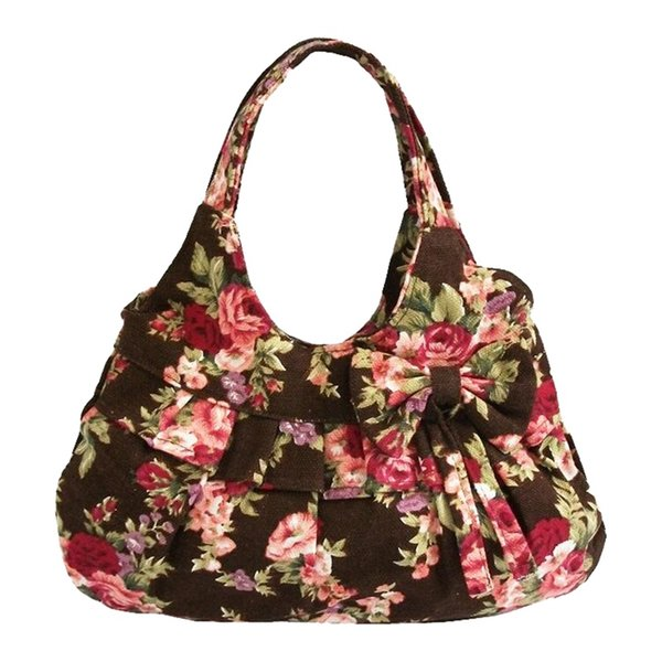 Women canvas Bow printing handbag(Khaki Flower)