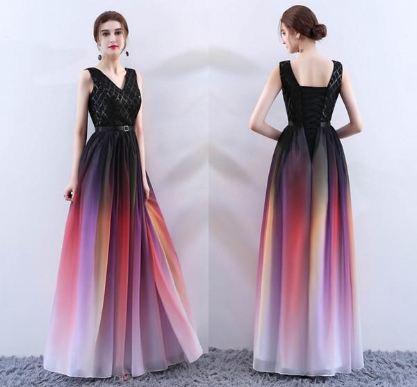 Compre Vestidos Elegantes De Las Niñas Con Cuello En V Con Espalda Abierta Una Línea De Fiesta De Gasa Roja Larga Vestidos De Noche Formales Para Las