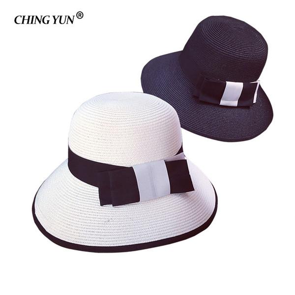 summer sun hat cap woman straw hat bowknot Visor Caps knit Leisure hats ladies large brim cap foldable girls outdoor anti-UV