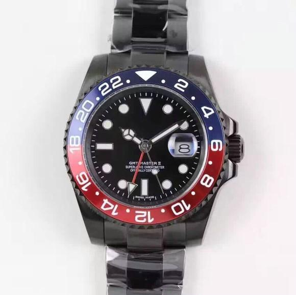 The top sale Rose gold GMT2 Listed V3 Version Batman mens watch automatic movement Ceramic Rotating Bezel sapphire glass steel str