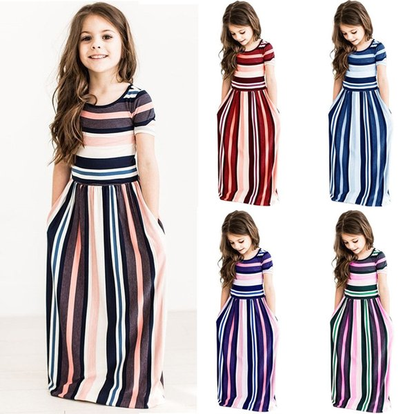 Girls Striped Dresses Summer Short Sleeve Colorful Princess Dress Bohemian Beach Tunic Maxi Dresses Kids Clothing AAA1984