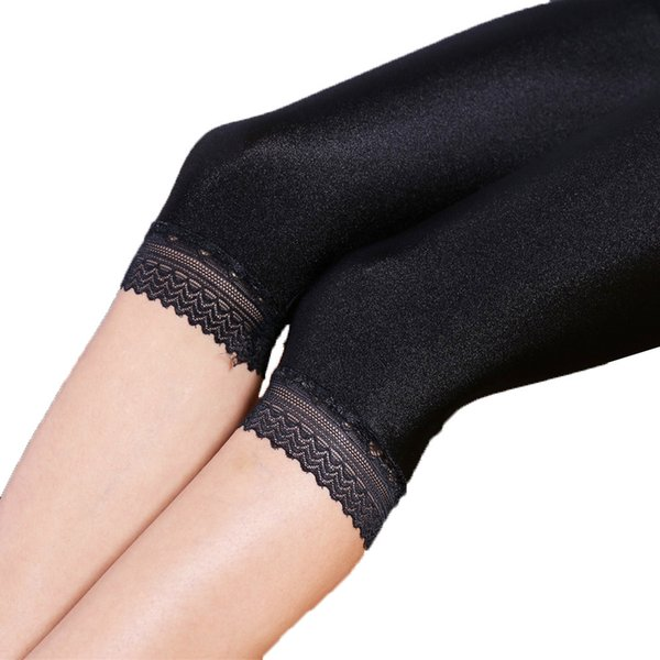 Women Summer 3xl 5xl Plus Size Knee Length Capris Lady Slim Fitted Skinny Lace Short Legging Big Size Mujer Shiny Trouser