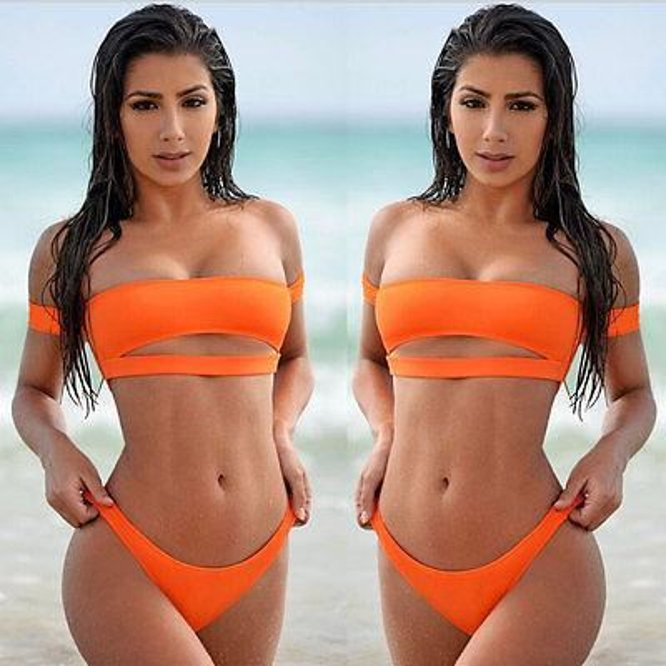 2017 Katı Renk Bayan Mayo Push-up Paded Bikini Set Beach Mayo Mayo Yüzücü Seksi Kadın Beachwear YENİ