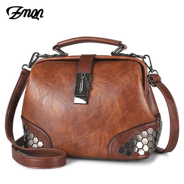 Zmqn Bags For Women Shoulder Bag Female 2019 Vintage Cheap Women Handbag Lady Small Crossbody Bags Leather Rivet Doctor Bag C229 Y19061803