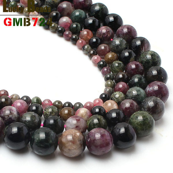 round 4-10mm natural stone tourmaline round beads for jewelry making 15inches high quality beads for women making bracelet
