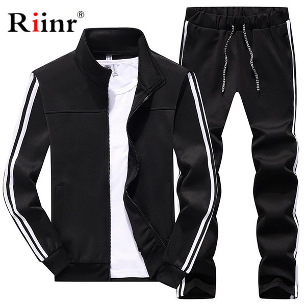 Men Casual Sets Spring Tracksuit Male Sweatshirt Long Sleeve Pants Letter Casual Sportswear Suits Men Set Patchwork Outwear T2190604