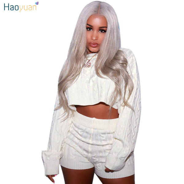 Haoyuan Women Two Piece Set Sexy Club Outfits Sweater Crop Tops And Biker Shorts Knitted Suit Clothes Tracksuit Matching Sets J190511