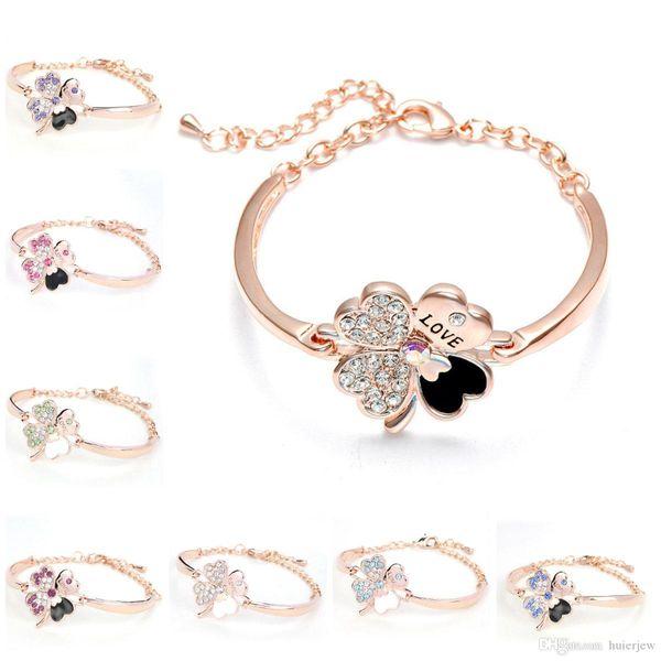 Crystal Four Leaf Clover Bracelets Bangle Cuff Letter Love Charm Diamond Cuff Bangle Inspirational Jewelry Love Lucky Bracelet