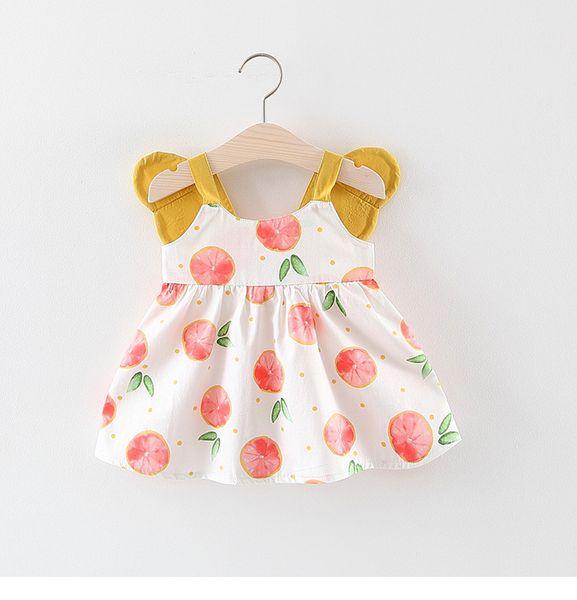 Little Girls Wing Lemon Print Dresses Summer 2019 Kids Boutique Clothing Korean 1-4T Baby Girls Sleeveless Dresses Cute Cheap