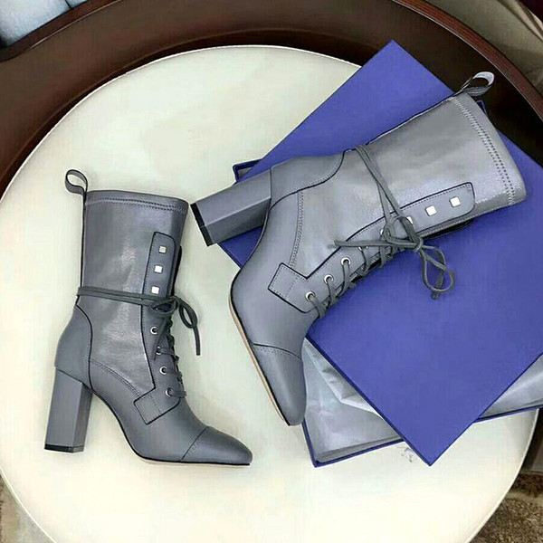 American luxury sut@rt weaitmzn ladies high heel boots ladies boots casual real leather boots lace belt design ladies shoes thick bottom b-1