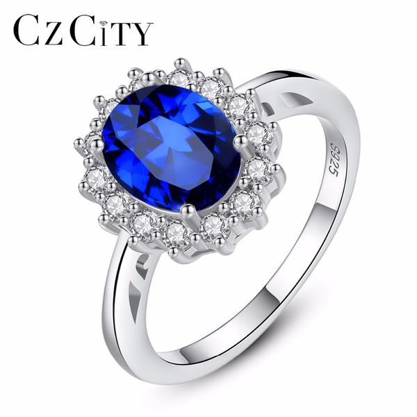 Czcity Princess Diana William Kate Gemstone Rings Sapphire Blue Wedding Engagement 925 Sterling Silver Finger Ring For Women SH190710