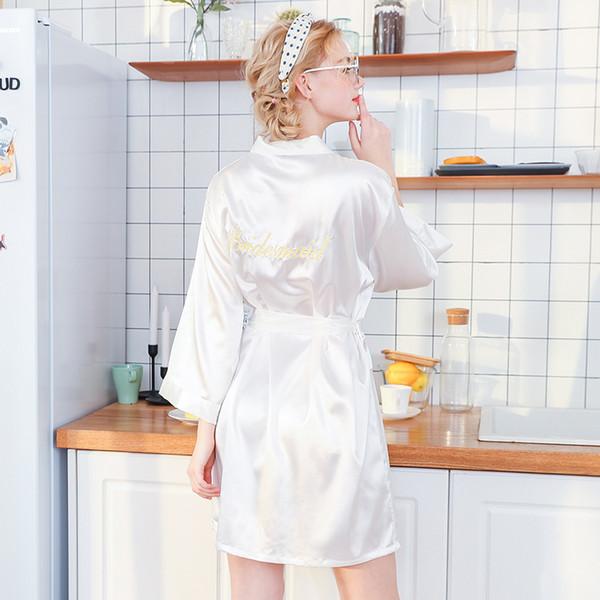Daeyard Femmes Robe De Luxe Broderie De Mariage Demoiselle D'honneur Robe Robe Solide Robe De Soie Satin De Soie Court Kimono Peignoir Vêtements De Nuit