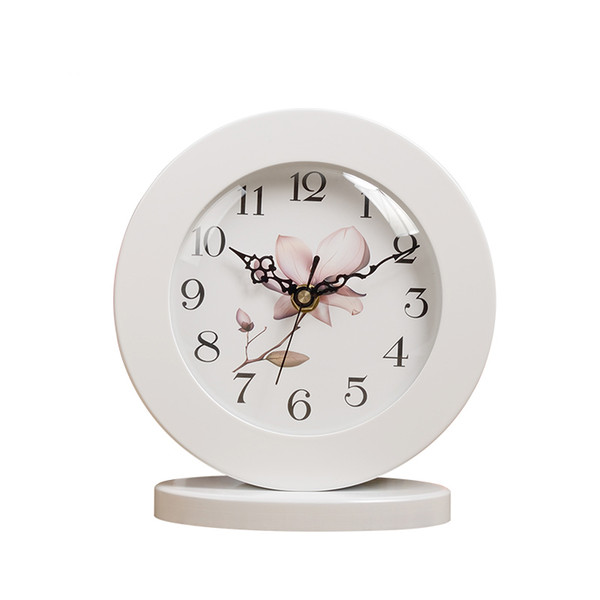 Orologio da tavolo silenzioso in legno classico bianco da 6 pollici Orologio da tavolo retrò creativo con decoro a casa Y19062103