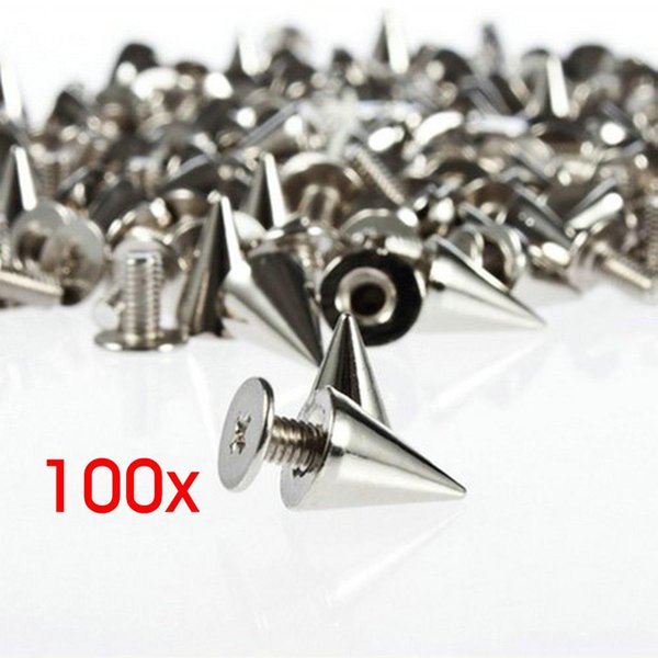top popular 100pcs set 9.5mm Silver Cone Studs And Spikes DIY Craft Cool Punk Garment Rivets For Clothes Bag Shoes Leather DIY Handcraft 2021