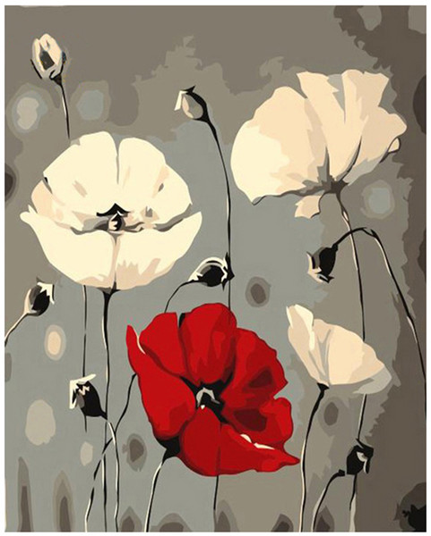 Pintura de bricolaje por números Kits Pintura pintada a mano para adultos Pintura al óleo-nórdica flor 16