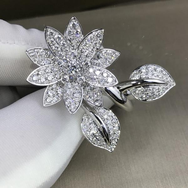 Vecalon себе цветок Promise кольцо серебро Pave Cz обручальных обручальное кольцо кольцо для женщин Свадебного ювелирных изделий Значительных