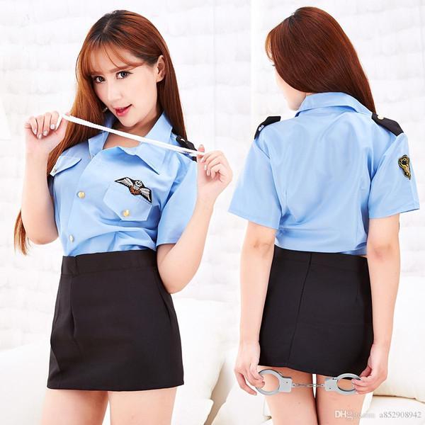 2019 Des grossistes de sous-vêtements sexy européens et américains séduisent des policières en uniformes noirs et en uniformes de rôle