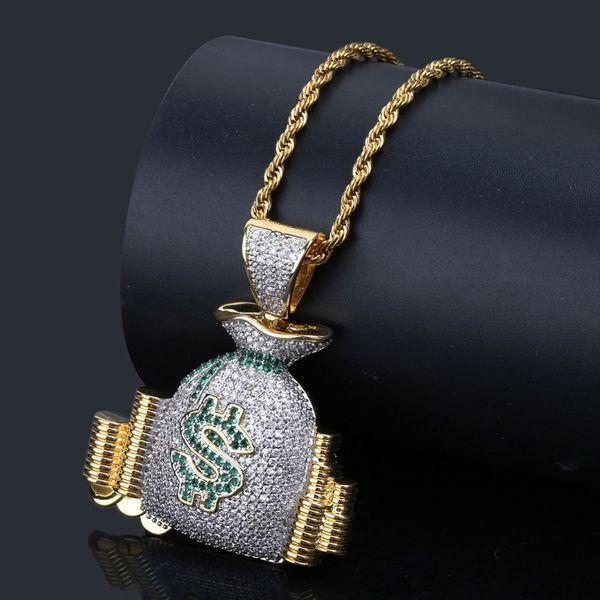 Hip Hop US Sac D'argent Pile Cash Pièces Pendentif Colliers Or 18K Glacé Sur Bling Cubique Zircon Colliers Hommes Charme Bijoux Cadeaux